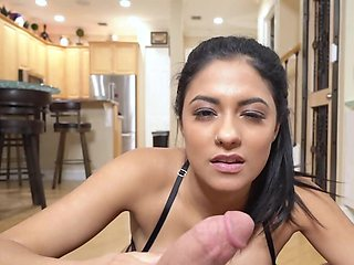 Big-boobied Latina with navel piercing rides stepdad's cock